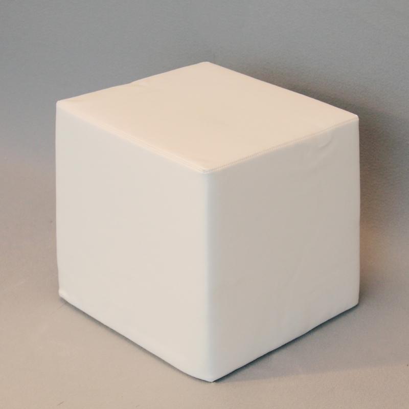 Pouf in pelle bianca 45x45x45alt. cm - Walcher Messebau